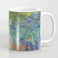 van gogh Mugs featuring Vincent van Gogh - Irises by Elegant Chaos Gallery