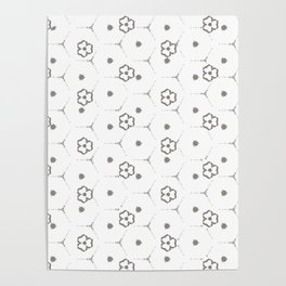 Minimalist Black and White mini Flower Pattern Poster
