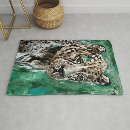 Leopard Abstract Green Painting Rug