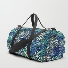 Stain Glass Floral Abstract - Blue-Green Duffle Bag