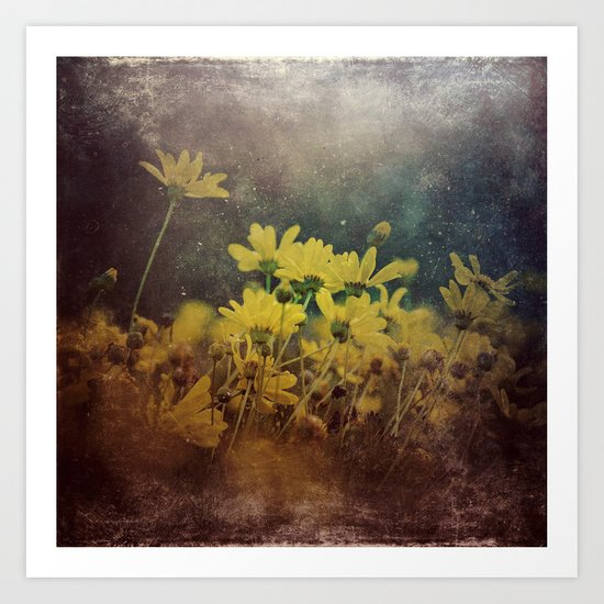Abstract Yellow Daisies Art Print