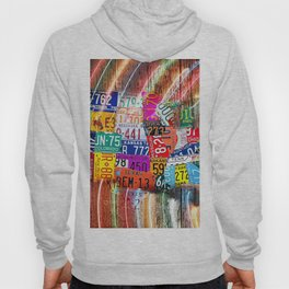 License Plate Map of United States Lights Hoody