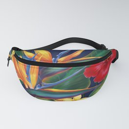 Tropical Paradise Hawaiian Floral Illustration Fanny Pack