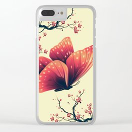 Butterfly and cherry blossoms Clear iPhone Case