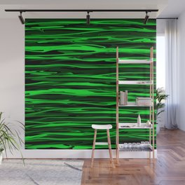 Lime Green and Black Stripes Wall Mural