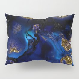 Gold and Indigo Malachite Marble Pillow Sham
