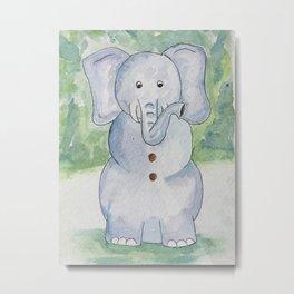 Snow Elephant Metal Print