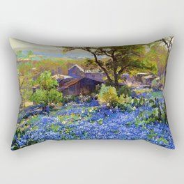 Bluebonnets at the Quarry Texas landscape desert painting by Robert Julian Onderdonk Rectangular Pillow