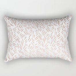 Modern rose gold brushstrokes dots confetti geometric pattern on white marble Rectangular Pillow