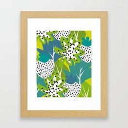 White strawberries and green leaves Framed Art Print