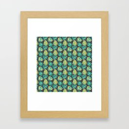 Modern green yellow tropical monster cheese leaves pattern Framed Art Print