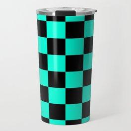Black and Aqua Checkerboard Pattern Travel Mug