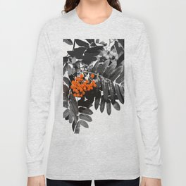 Red Rowan Berries In Black And White Background #decor #society6 Long Sleeve T-shirt