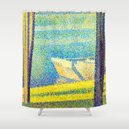 Georges Seurat Moored Boats and Trees Shower Curtain