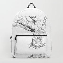 tree and swing, drawing black and white Backpack