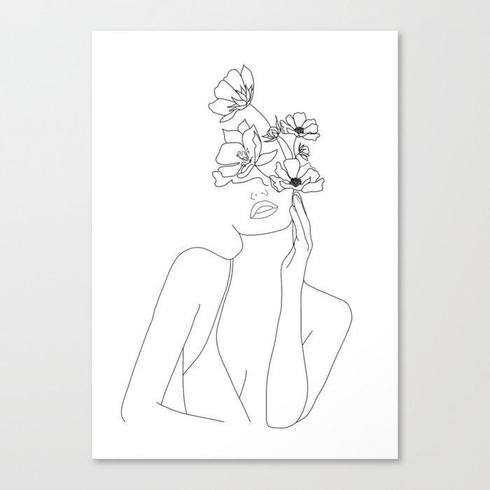 Minimal Line Art Woman with Flowers Leinwanddruck