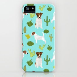 Jack Russell Terrier cactus desert custom pet portrait dog art by pet friendly iPhone Case