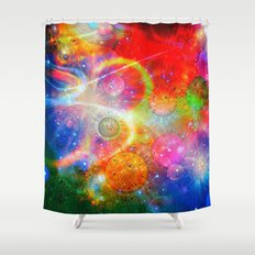 Altered Orbs in Space Shower Curtain