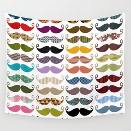 Colorful Mustaches Wall Tapestry