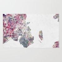 copenhagen Area & Throw Rugs featuring Copenhagen map by MapMapMaps.Watercolors
