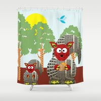 kangaroo Shower Curtains featuring Kangaroo by Design4u Studio