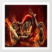 motorbike Art Prints featuring FIRE MOTORBIKE by Acus