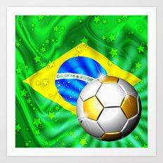 Brazil Flag Gold Green and Soccer Ball Art Print