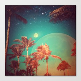 Moon Over Miami // Palm Trees Beach Island Florida Stars Space Digital Collage Astronomy Sunset Canvas Print