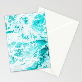 Bright Cyan Ocean Foam - Oil painting Stationery Cards