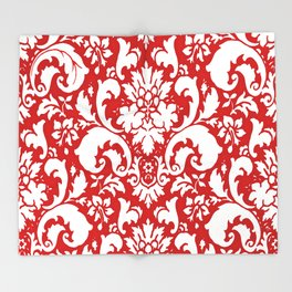 Paisley Damask Red and White Pattern Throw Blanket