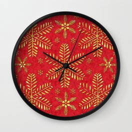 DP044-2 Gold snowflakes on red Wall Clock