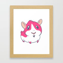Cute & Kawaii Cartoon Pink Guinea Pig Kids Decor Idea Animal Lover Art Framed Art Print