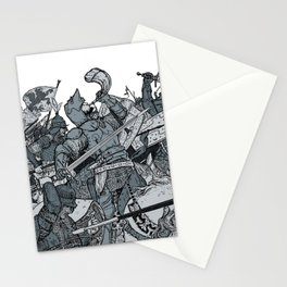 Saturday Knight Special STEEL BLUE / Vintage illustration redrawn and repurposed Stationery Cards