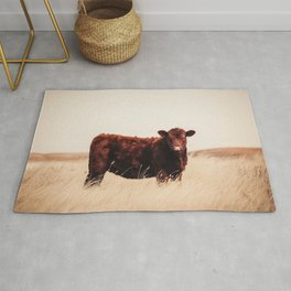 Red Angus Cow Art Rug