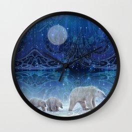 Arctic Journey of Polar Bears Wall Clock