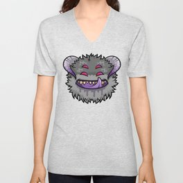 Diabolical Fuzzball (charcoal) Unisex V-Neck