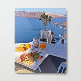 Oia, Santorini, Greece.. Breakfast with a View! Metal Print