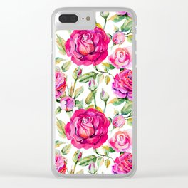 Neon pink lavender green hand painted watercolor roses Clear iPhone Case