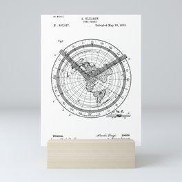 Time chart clock old patent vintage illustration Mini Art Print