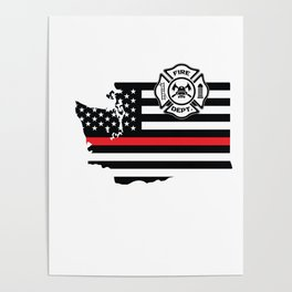 Washington Firefighter Shield Thin Red Line Flag Poster