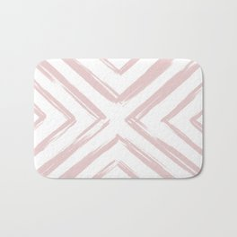Minimalistic Rose Gold Paint Brush Triangle Diamond Pattern Bath Mat