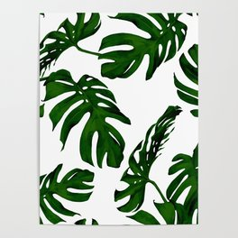 Simply Tropical Palm Leaves in Jungle Green Poster