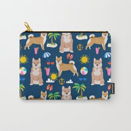 Shiba Inu summer beach vacation dog gifts pure breed pet portrait pattern Carry-All Pouch
