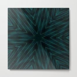 Teal Forest Green Snowflake Metal Print