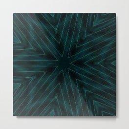 Teal Forest Green Snowflake Metal Print