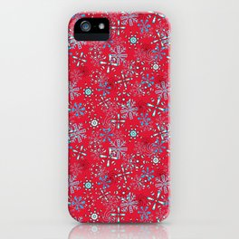 Snowflakes Falling in Cherry Red, Christmas and Holiday Fantasy Collection iPhone Case