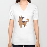 german shepherd V-neck T-shirts featuring German Shepherd by Claire Stamper