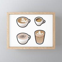Little Coffees Sticker Set Framed Mini Art Print