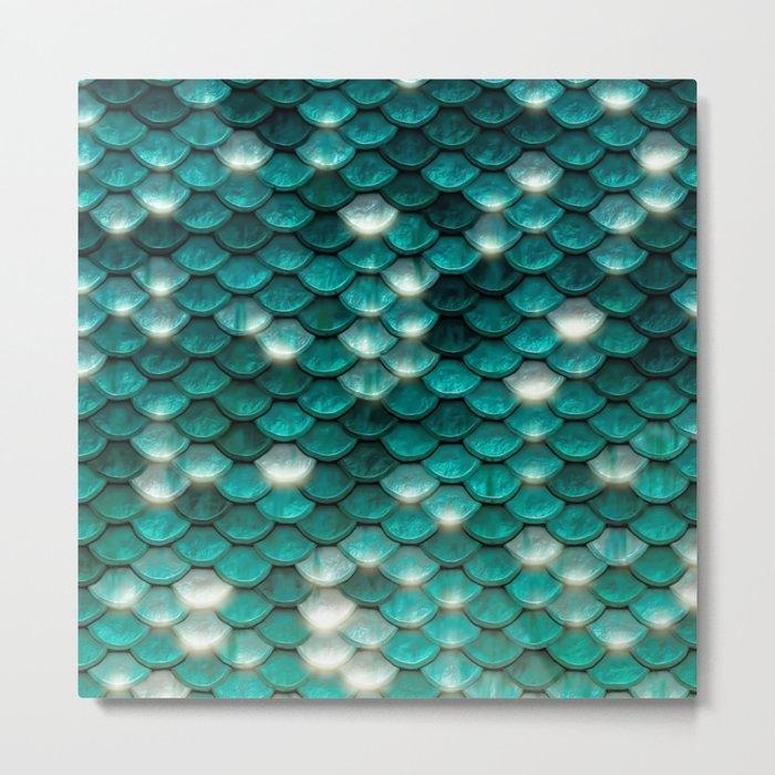 Turquoise sparkling mermaid glitter scales- Mermaidscales Metal Print