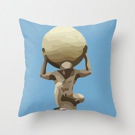 light blue Man with Big Ball Illustration Throw Pillow